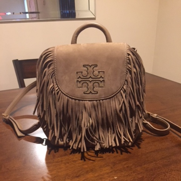 853f81403ca6 Tory Burch Harper Fringe Nubuk Mini Backpack- NEW!  M 5b7a119c8ad2f9ee74d69326